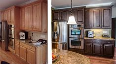painted oak kitchen cabinets before and after | before-and-after-kitchen-cabinet-makeover