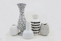 5 Vintage German Fat Lava Vases in White and Black Lot Jasba Cortina Scheurich Edelstein