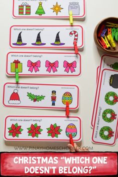Christmas themed which one doesn't belong? #preschool #math #literacy #learningmaterials #kindergarten #christmasprintables