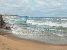 Charles Bridgeman Vickery - Windy Day offered by William A. Karges Fine Art on InCollect Let's Pretend, Windy Day, Art Institute Of Chicago, Coastal Living, Impressionism, Oil On Canvas, Waves, Ocean, Sky