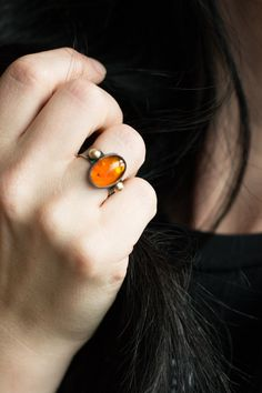 Amber Ring with 14K Gold Accents, Sterling Silver and 14K Gold Amber Ring, Vintage Style, Unique Engagement Ring, Unique Wedding Ring