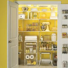 Paint the inside of the pantry a cheerful color