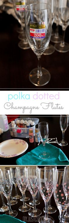 These polka dot champagne flutes are easy to make and perfect for every type of event! Read the quick and easy steps to making your own. @diyjustcuz