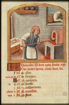 Late Medieval Illumination; wood fired baking oven from 1490-1500, 'December' from Book of Hours