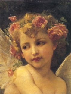 """""""The Wings of Desire"""" (Pre-1900), By Guillaume Seignac (1870–1924), Oil on Canvas. Private Collection. France. #angels"""