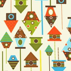 Get a free swatch of Kids bright birdhouses fabric, birdhouse print fabric, bright birdhouse print fabric