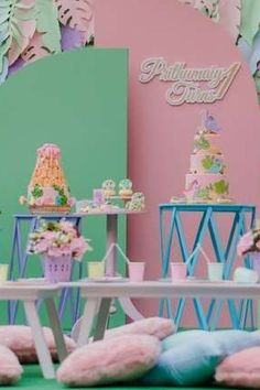 Take a look at this amazing girl dino birthday party! The dessert table is fab! See more party ideas and share yours at CatchMyParty.com #catchmyparty #partyideas #dinosaur #dinosaurparty #girlbirthdayparty