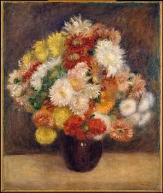 "Auguste Renoir (French, 1841–1919). Bouquet of Chrysanthemums, 1881. The Metropolitan Museum of Art, New York. The Walter H. and Leonore Annenberg Collection, Bequest of Walter H. Annenberg, 2002 (2003.20.10) | Renoir felt that he had greater freedom to experiment in still lifes than in figure paintings. ""When I paint flowers, I feel free to try out tones and values and worry less about destroying the canvas"". #spring"