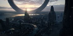 Cityscape by WojciechFus future alien planet landscape location environment architecture | Create your own roleplaying game material w/ RPG Bard: www.rpgbard.com | Writing inspiration for Dungeons and Dragons DND D&D Pathfinder PFRPG Warhammer 40k Star Wars Shadowrun Call of Cthulhu Lord of the Rings LoTR + d20 fantasy science fiction scifi horror design | Not Trusty Sword art: click artwork for source