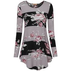MCKOL Women's Scoop Neck Long Sleeve Floral T-Shirts Casual Striped... ($22) ❤ liked on Polyvore featuring tops, tunics, scoop neck tunic, long sleeve scoop neck top, floral stripe top, floral tunic and purple floral top