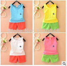 2014 children's summer boys clothes children's kids clothes sets vest sports suit boy girls clothing set children suit  $43.99