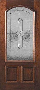 Pre-hung Single Door 80 Mahogany Carolina 2 Panel Arch Lite Glass mediterranean-front-doors