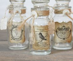 Repurposed Vintage Bottle Rustic French Bird by ClothandPatina Spice Bottles, Vintage Bottles, Bottles And Jars, Vintage Labels, Glass Bottles, Small Bottles, Antique Bottles, Vintage Perfume, Antique Glass