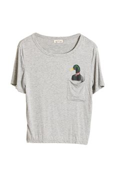 Duck Printed Pocket Grey T-shirt  $26.99  #romwe