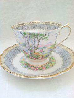 "Royal Albert ""Silver Birch"" Tea Cup and Saucer, Teacup, Vintage Royal Albert Vintage Cups, Vintage China, Vintage Tea, Royal Albert, Teapots And Cups, Teacups, China Tea Cups, My Cup Of Tea, Tea Cup Saucer"