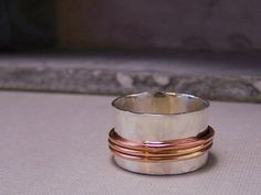Rose Gold Silver Spinner Ring Rose Gold Fiddle Ring SR106