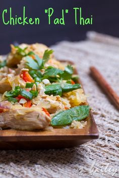 "Noodle-less Chicken ""Pad"" Thai: Get your Pad Thai fix with this healthy, low carb version!"