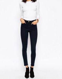 ASOS Ridley High Waist Skinny Jeans in Petunia Blackened Blue