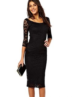 Stylish Solid Half Sleeve O-Neck Lace Black Long Dresses