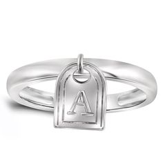 Jewelonfire Women's Sterling Silver A to Z Initial Charm Ring (Y, Size-7), Size: 7, White