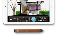 Pencil Smart Stylus for iPad with Paper App by FiftyThree.  It will allow you to draw with your wrists on the iPad an allow you to smudge lines with your fingers.  And it has an eraser on the back.  Genius.  This is definitely going on my Christmas list.