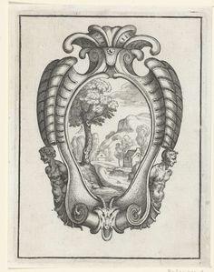 Daniel Rabel | Cartouche met twee mannelijke torso's, Daniel Rabel, 1632 | In de cartouche staat een berglandschap afgebeeld. Blad 10 uit serie van 13 bladen met cartouches in Franse kwabstijl.