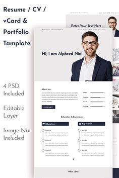 Alphred Nid CV / Resume / Personal Portfolio PSD Template Portfolio Resume, Portfolio Design, Resume Profile, Personal Portfolio, Resume Cv, Resume Templates, Web Design, Photoshop, Education