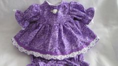 """Purple Floral Print Dress/bloomers, fits 12"""" Corolle Tidoo dolls and others"""