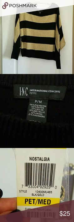 INC SWEATER TOP INC INTERNATIONAL CONCEPTS  Style NOSTALGIA BLACK/GOLD SWEATER TOP 3/4 LENGTH BAT WING SLEEVES  SIZE MED /PETITE  NWT INC International Concepts Tops Blouses
