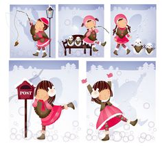 Elements of girl Snowman style Vector
