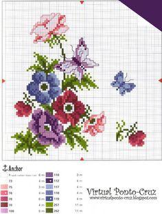 Punto De Cruz ramos de flores | Punto De Cruz - Mas de 5,000 Gráficos