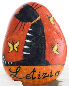 Made on request, with your given name.  #cat #paintedstones #blackcat #butterfly #kitty #cutecat #handpainted #handmade #gatto #gatti #gattonero #farfalle #micio #fattoamano #dipintoamano #etsy #etsyseller #etsysellersofinstagram #emanueladecorart