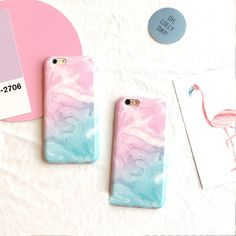 Candy color Gradient Marble soft pink light blue for iPhone 6 6S 6plus 6Splus 7 7plus 5 5s fashion back cover free shipping #Affiliate