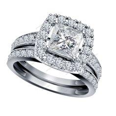 6MM Brilliant Princess Cut 2.68 CT Diamond 14K White Gold Finish Bridal Ring Set #Aonedesigns