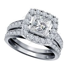 6MM Brilliant Princess Cut 2.68 CT Diamond 14K White Gold Finish Bridal Ring Set #Aonedesigns