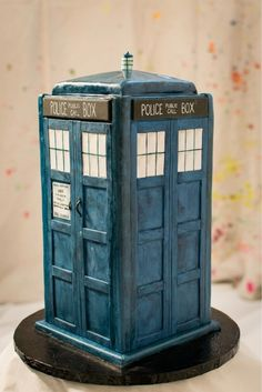 A TARDIS Cake my best friend Dylan wants for her Birthday. I am not a baker, but I will think of something.