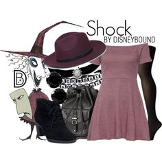 Shock by leslieakay on Polyvore featuring Wolford, Clarks, H&M, Sirius, Steve Madden, Halloween, disney, disneybound and disneycharacter