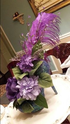 Purple high heel centerpiece; recycled shoes