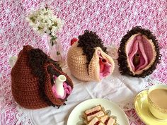 How to Crochet a Vulva Tea Cosie. The Vulva Tea Cosie combines the traditions of sharing tea and crochet, with a vulva, in a brazen celebration of womanhood. Choose your style and colours, and make your own beautiful vulva tea cosie! The Vulva Tea Cosy Crochet Home, Knit Or Crochet, Crochet Designs, Crochet Patterns, Crochet Videos, Felt Christmas, Cosy, Crochet Projects, Knitting