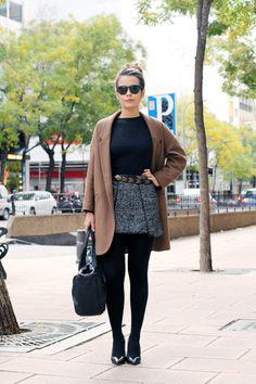 Tweed Skirt + Camel Coat + Interesting Belt + Opaque Tights