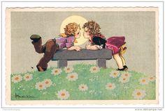 Superbe Carte Signée Adolfo Busi, Les Petits Amoureux, Circulée - Edit Monoross N° 2214  - Busi, Adolfo