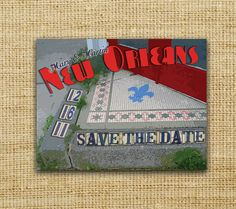 New Orleans Tile Vintage Postcard Save the Date by PowerhousePaper, $1.95
