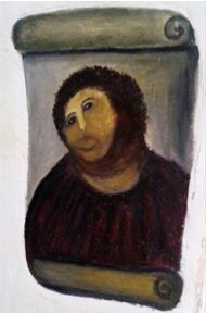 Now You, Too, Can Restore Your Own Ecce Homo Fresco, click on picture to go to website ceciliaprize.com to give it a shot. lol