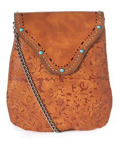 Loving this Tan Floral Leather Crossbody Bag on #zulily! #zulilyfinds