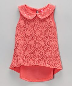 Another great find on #zulily! Coral Lace Overlay Sleeveless Top by Cutie Patootie #zulilyfinds