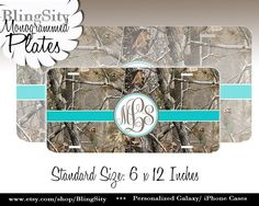 Turquoise Teal Camo Black License Plate Frame Monogrammed