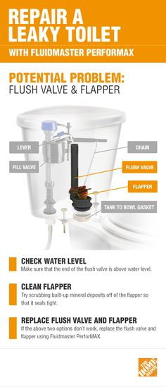 If you have a leaky toilet, the problem may be the flush valve and the flapper. First, make sure the end of the flush valve is above water level. If that doesn't help, click the infographic to get more details and shop Fluidmaster PerforMAX if you need to replace your toilet's parts.