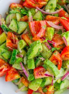 Healthy Cucumber, Tomato, and Avocado Salad - Recipe, Vegetarian, Simple, Quick, Satisfying, Delicious!
