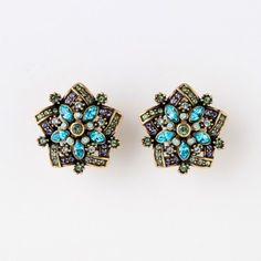 """Corsage for the Ears"" Crystal Accented Flower Earring - Turquoise Must-Haves - What's New 