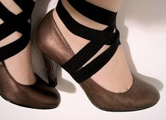 walkthrough: how to add criss-cross elastic straps to a simple pair of heels.